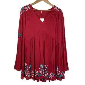 NWT FREE PEOPLE Te Amo Red LS Boho Mini Dress S